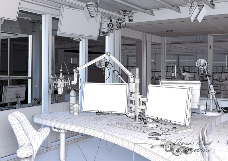 3d, radiostudio, interior visualisation, technik, wireframe